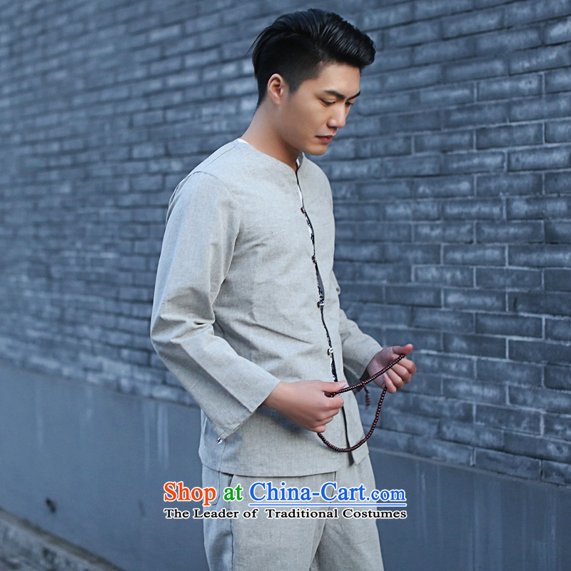 It New Men Tang Dynasty Package Chinese small cotton linen collar retro ethnic 7 cuff kung fu shirt gray聽2XL, floral shopping on the Internet has been pressed.