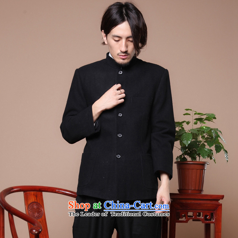 Dan smoke Chinese Antique men Tang Dynasty Korean suits the elderly in the collar national Chinese tunic gross jacket Black燲L?