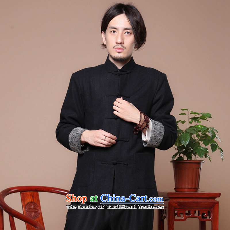 Dan smoke autumn and winter Chinese Antique men in Tang Dynasty older collar up Korean Chinese tunic suit detained wool coat black?2XL?