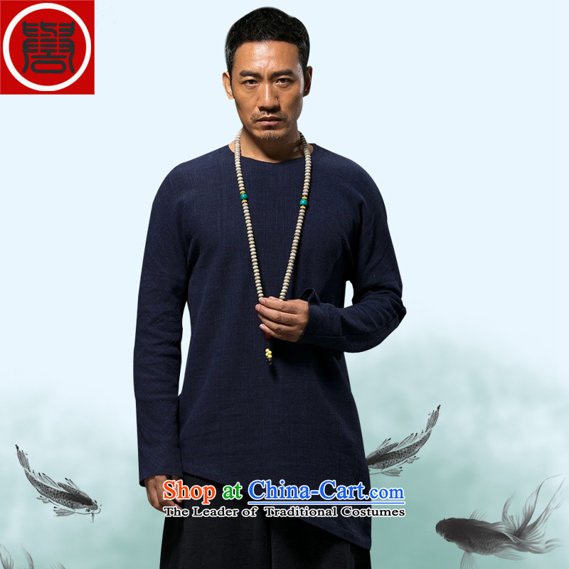 Renowned China wind spring and autumn) Men linen long-sleeved loose Chinese men spring and fall short of the blue T-shirt with?L
