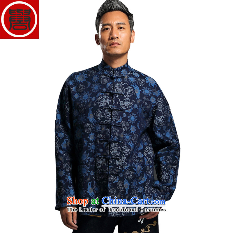 Renowned China wind embroidery autumn and winter Han-Tang Dynasty Male Male knitting cowboy shirt collar jacket Chinese tunic national dress jacket and blue�L