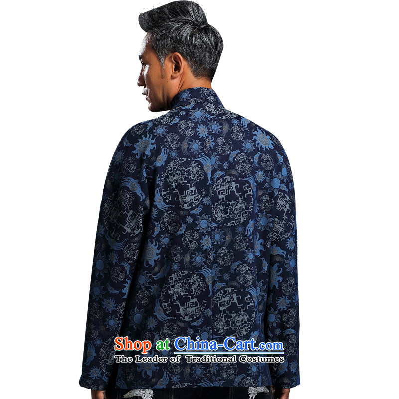 Renowned China wind embroidery autumn and winter Han-Tang Dynasty Male Male knitting cowboy shirt collar jacket Chinese tunic national dress jacket and blue聽4XL, renowned (CHIYU) , , , shopping on the Internet