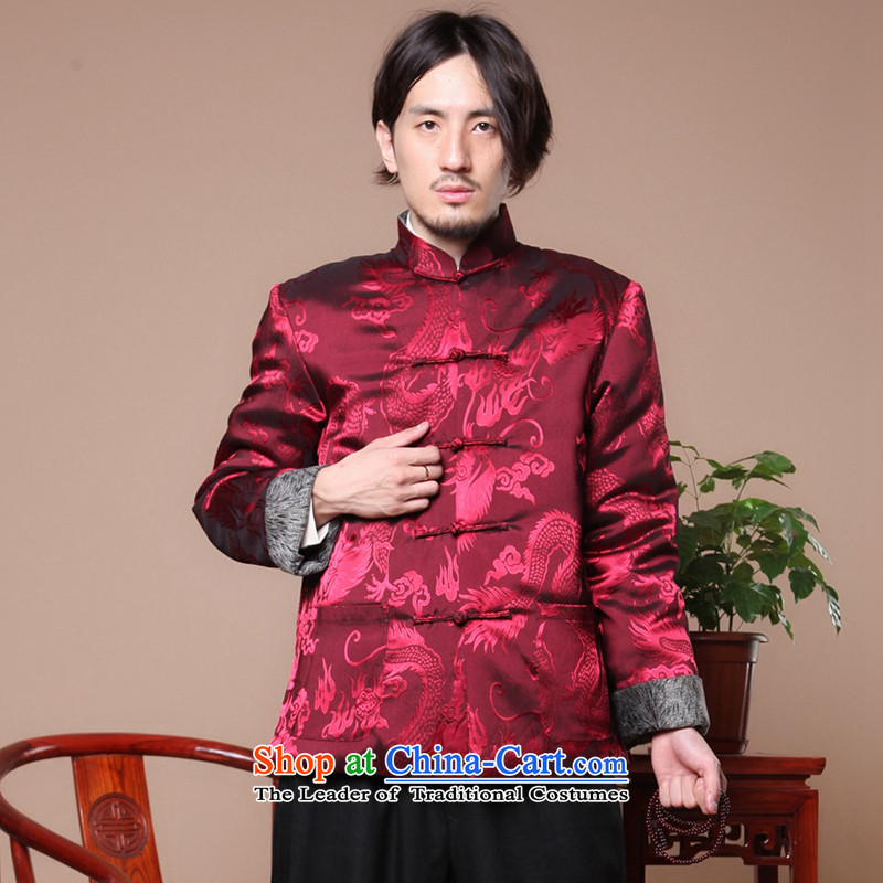 Spend the winter of ethnic figure Tang Gown robe jacket collar disc detained men of nostalgia for the elderly in the Tang dynasty, cotton-dark red?M