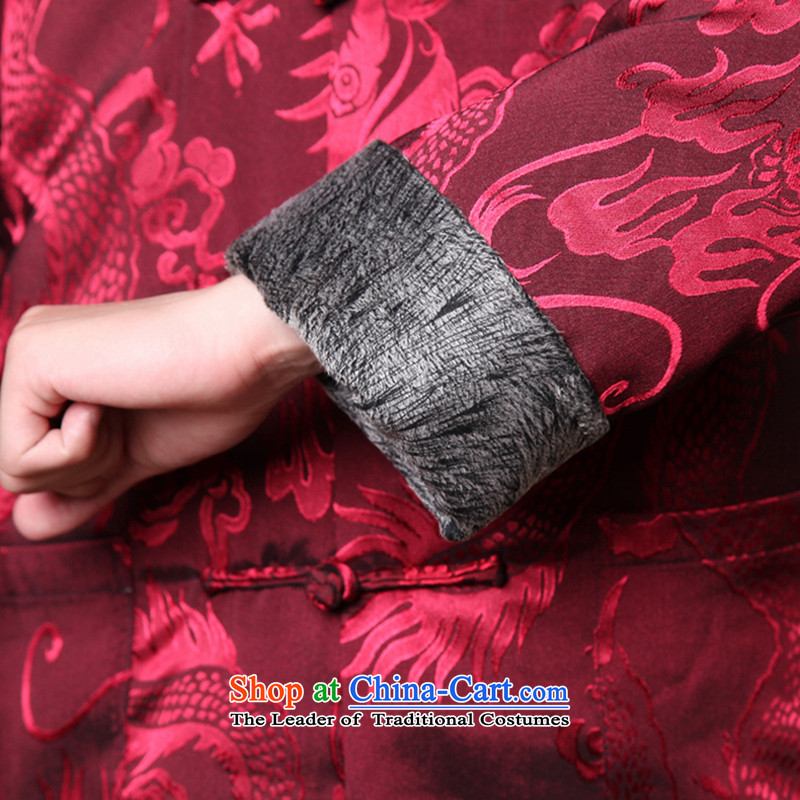 Spend the winter of ethnic figure Tang Gown robe jacket collar disc detained men of nostalgia for the elderly in the Tang dynasty, dark redM spent ãþòâ figure , , , shopping on the Internet