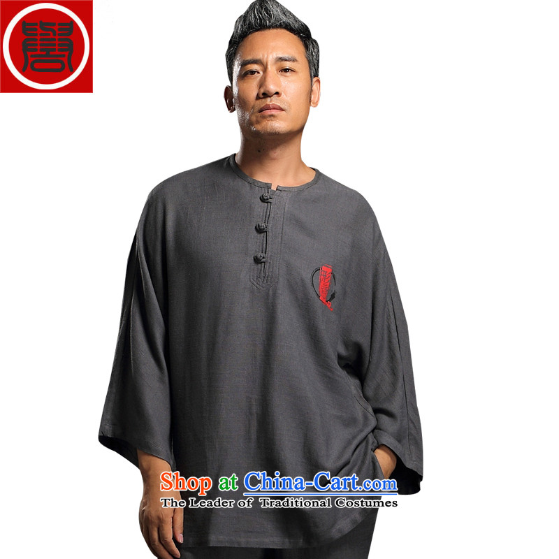 Renowned linen men Tang Dynasty Package kung fu shirt clip Chinese Nation disk manually Han-liberal Tai Chi Man Kit services gray燲L