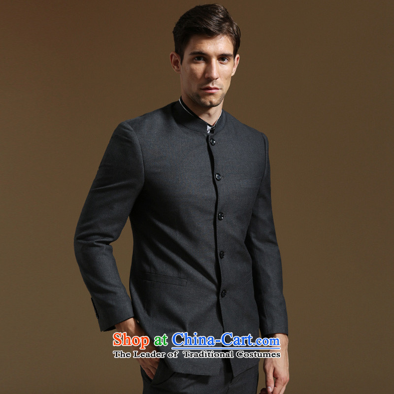 In its speaker men Chinese tunic commerce is casual Chinese collar suit male Korean Sau San suits燲l_180c Gray