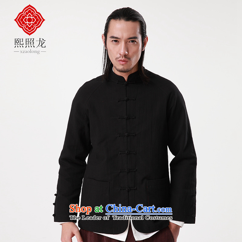 Hee-Snapshot Dragon 2015 autumn and winter new Tang jackets Men's Mock-Neck Shirt China wave card leisure improved Tang-pack Black?M