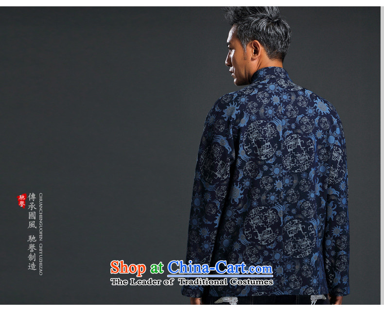 Renowned China wind embroidery autumn and winter Han-Tang Dynasty Male Male knitting cowboy shirt collar jacket Chinese tunic national dress jacket and blue聽XXXL picture, prices, brand platters! The elections are supplied in the national character of distribution, so action, buy now enjoy more preferential! As soon as possible.