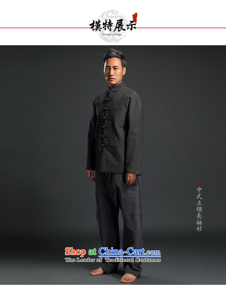 Renowned Chinese wind in older autumn and winter Han-Tang Dynasty Male Male knitting cowboy shirt collar jacket Chinese tunic national dress jacket and gray聽XXXL picture, prices, brand platters! The elections are supplied in the national character of distribution, so action, buy now enjoy more preferential! As soon as possible.