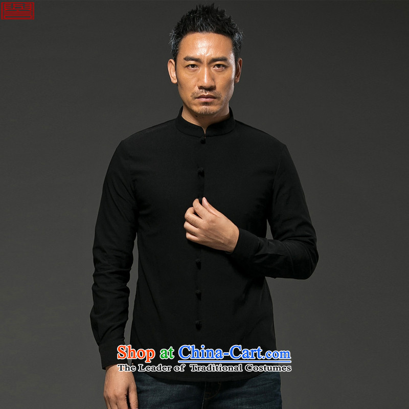 Renowned Chinese Services China wind men fall and winter men long-sleeved shirt collar much use of Sau San Chinese shirt men disc detained cotton linen solid color black燣