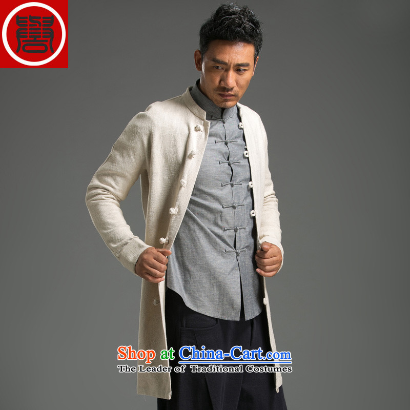Renowned Chinese Services China wind of autumn and winter clothes for men in the wind long solid color jacket linen Sau San long-sleeved men and Tang dynasty Chinese cotton linen Hyun Yellow?XL
