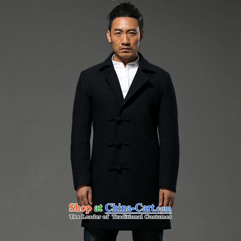 Renowned Chinese Services China wind winter Men's Mock-Neck Long Hoodie a wool coat Cashmere wool coat is coat men of winter clothing Black燲L
