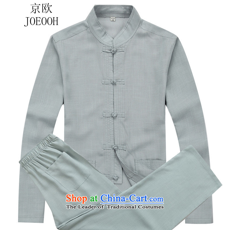Beijing Europe�15 Autumn New Tang Dynasty Chinese long-sleeved kit male cheongsams father replacing kung fu shirt gray suit燲L_180