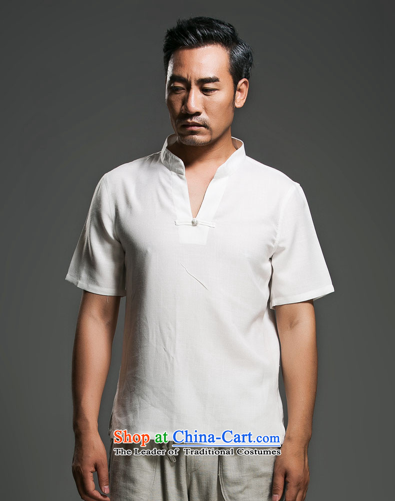 Renowned Chinese Services China wind men short-sleeved shirt V-neck disc clip cotton linen collar leisure T-shirts and Sau San short-sleeve male and 2015 White聽XL Photo, prices, brand platters! The elections are supplied in the national character of distribution, so action, buy now enjoy more preferential! As soon as possible.