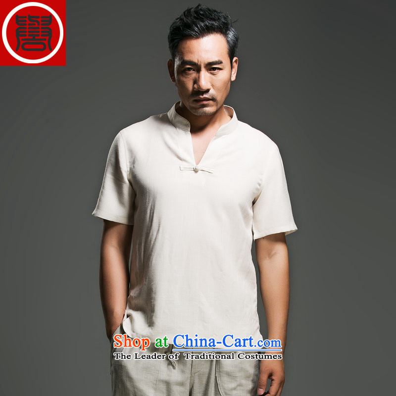 Renowned Chinese Services China wind men short-sleeved shirt V-neck disc clip cotton linen collar leisure T-shirts and Sau San short-sleeve male and 2015 White?XL
