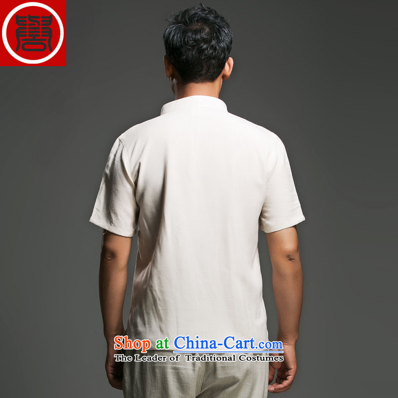 Renowned Chinese Services China wind men short-sleeved shirt V-neck disc clip cotton linen collar leisure T-shirts and Sau San short-sleeve male and 2015 White聽XL, renowned (chiyu) , , , shopping on the Internet