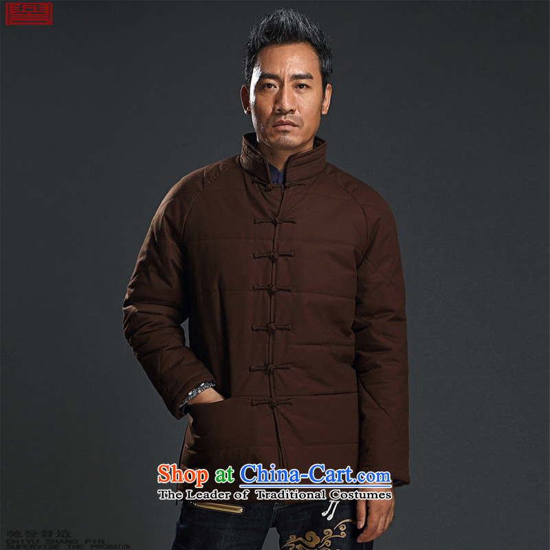 Renowned Chinese Services China wind cotton coat for winter Men's Mock-Neck thick coat disk loose cotton clothing clip national men in Tang Dynasty older brown XL