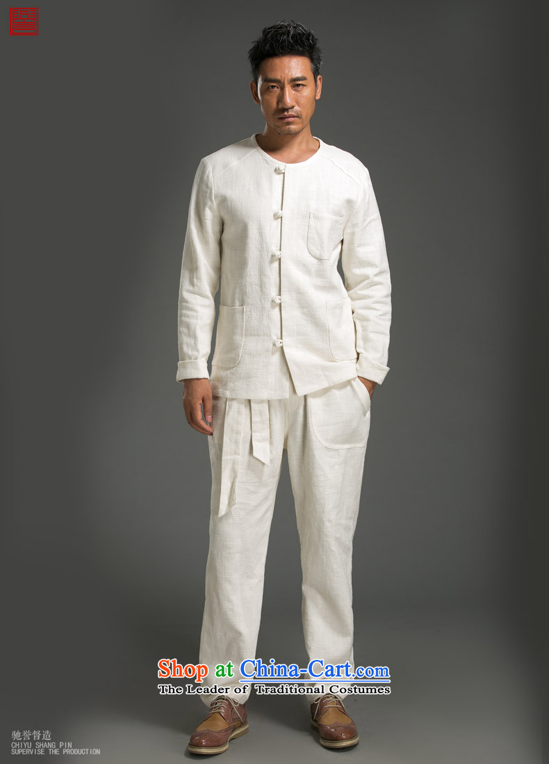 Renowned Chinese Services China wind ma disk load autumn shirt clip New retro men's Sau San ethnic linen white long-sleeved shirt3XL picture, prices, brand platters! The elections are supplied in the national character of distribution, so action, buy now enjoy more preferential! As soon as possible.