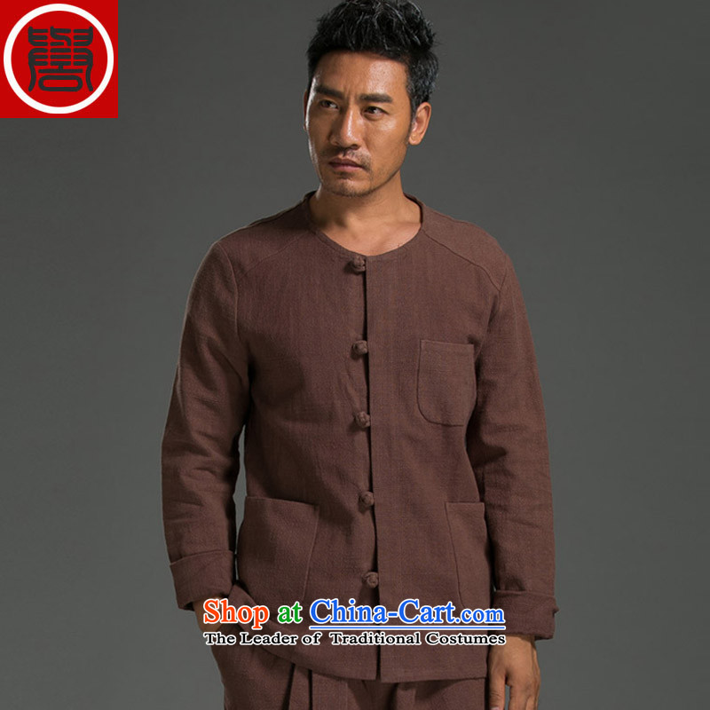Renowned Chinese Services China wind ma disk load autumn shirt clip New retro men's Sau San ethnic linen white long-sleeved shirt3XL, renowned (chiyu) , , , shopping on the Internet
