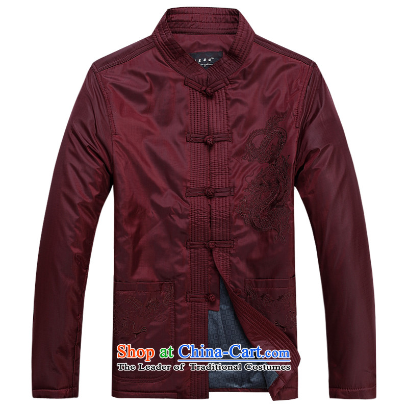 Ming Emperor Wei genuine men Tang dynasty 2015 autumn and winter new embroidery dragon cotton coat Tang Dynasty Chinese Democracy detained disc retro-fitted with older dad grandpa gifts red聽190_XXXXL