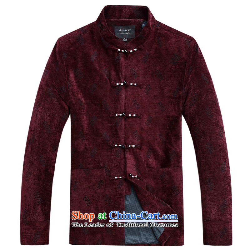 Ming Emperor Wei genuine men Tang dynasty 2015 autumn and winter new Tang jackets classic retro-clip Chinese democratic wind load grandpa load dad older red聽185_XXXL Gifts