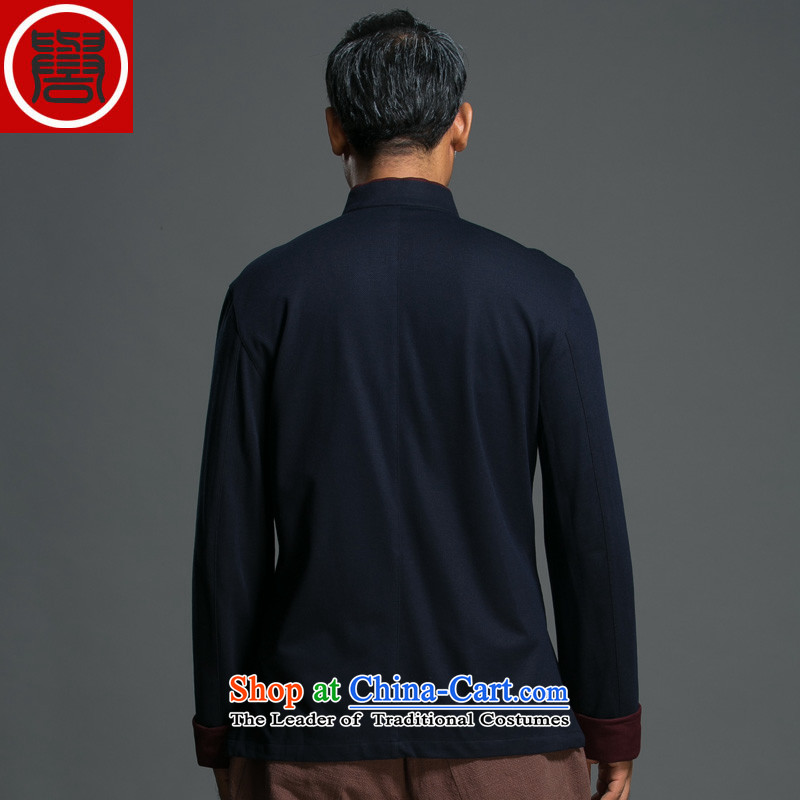 Renowned Chinese Services China wind and loose spring long-sleeved Tang Dynasty Chinese Men's Mock-Neck national tray clip jacket improved Han-dark blue聽2XL, 9165 (chiyu renowned shopping on the Internet has been pressed.)