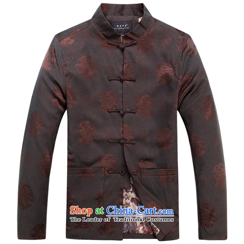 Ming Emperor Wei genuine men Tang dynasty 2015 autumn and winter New Millennium hall of Tang Dynasty cotton coat retro-clip Chinese democratic wind load grandpa load older Father Brown 170/L Gifts