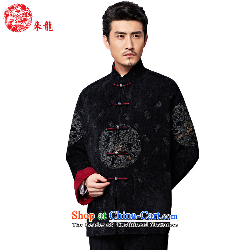 To Tang dynasty dragon autumn and winter, China wind men detained longfeng embroidery connected disk sleeves pullover�579燘lack�