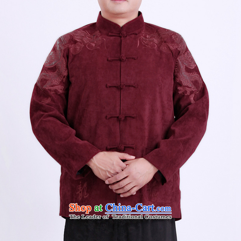 The Rafael Hui Kai Man Tang dynasty during the spring and autumn new men aged jackets Tang men Tang blouses 13130 Red聽180 T-Shirt