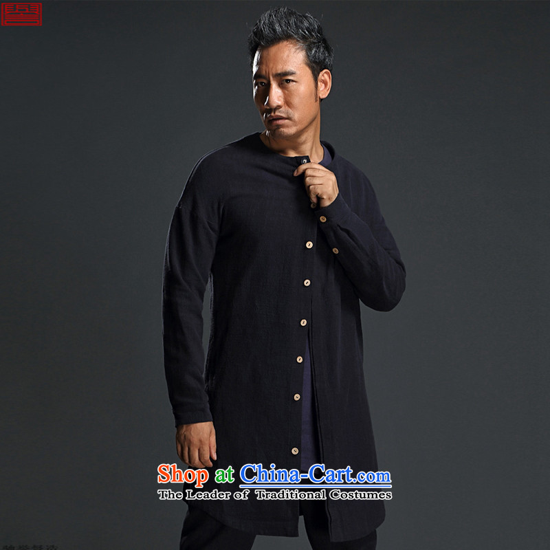 Renowned Chinese men in uniform windbreaker long jacket, Autumn Chinese Wind Men long-sleeved T-shirt and linen retro fitted men's Chinese Blue Tang?L