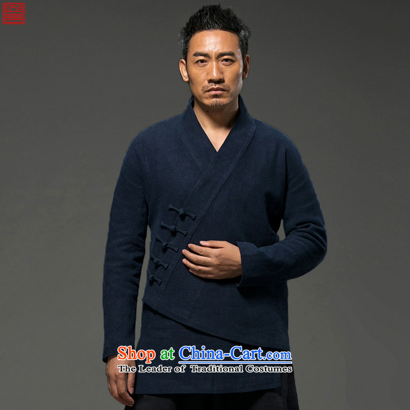 Renowned Chinese Services China wind autumn and winter Han-men and a long-sleeved jacket cotton linen Tang dynasty improved spiritual ball-T-shirt is loose clothing clip聽XXXL blue