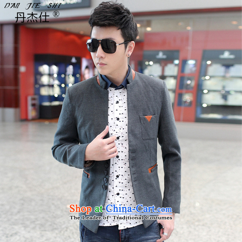 Dan Jie Shi men casual jacket _ Assemble Spring and Autumn Chinese tunic suit and a mock-neck jacket light gray聽XXL