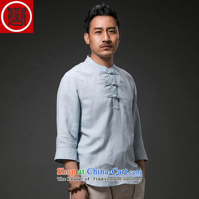 Renowned China wind men Han-Tang Dynasty Short-Sleeve Men linen t-shirt men loose summer cotton linen 7 sleeveless shirt that 2,005 4XL