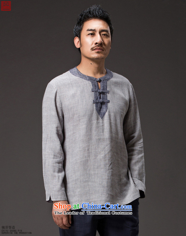 Renowned 2015 China wind men blacklead long-sleeved T-shirt shirt men Tang dynasty linen round-neck collar disc detained men's wear casual clothes autumn blouses light gray jumbo (2XL) picture, prices, brand platters! The elections are supplied in the national character of distribution, so action, buy now enjoy more preferential! As soon as possible.