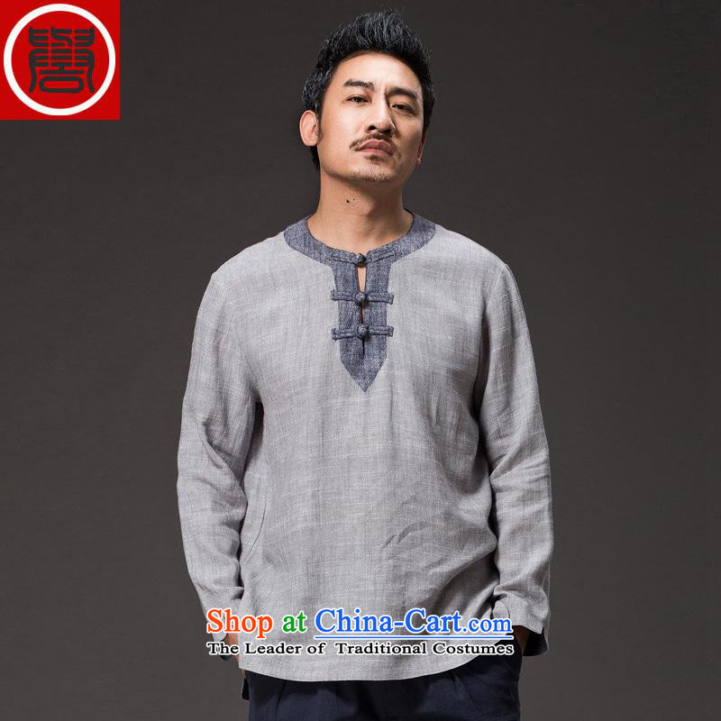 Renowned 2015 China wind men blacklead long-sleeved T-shirt shirt men Tang dynasty linen round-neck collar disc detained men's wear casual clothes autumn blouses light gray jumbo _2XL_