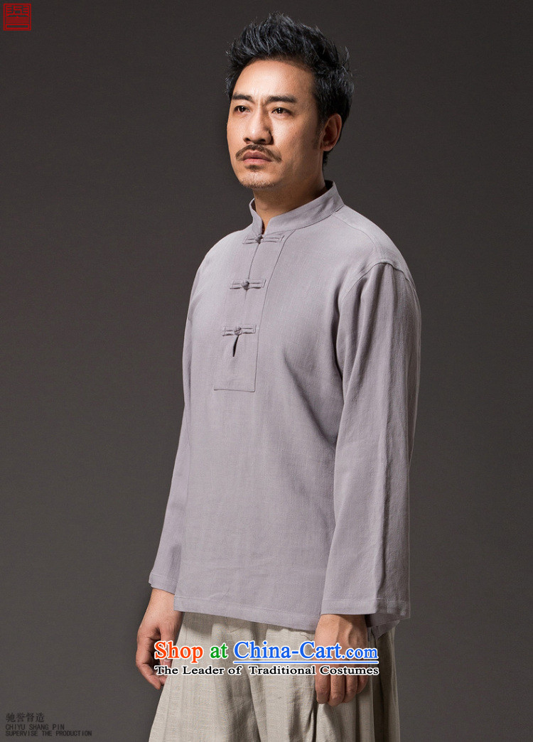 Renowned 2015 China wind men linen autumn shirt long-sleeved T-shirt solid color men fall cotton linen Tang T-shirts and T-shirt white 4XL/190 picture, prices, brand platters! The elections are supplied in the national character of distribution, so action, buy now enjoy more preferential! As soon as possible.