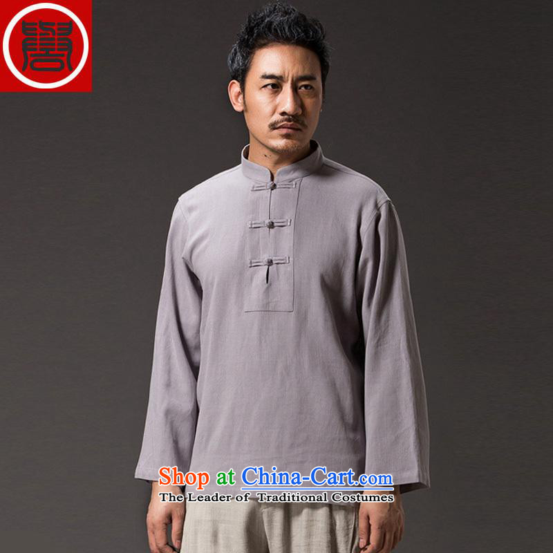 Renowned 2015 China wind men linen shirt solid color long-sleeved T-shirt autumn linen retro men Tang T-shirts and T-shirt light gray燲L