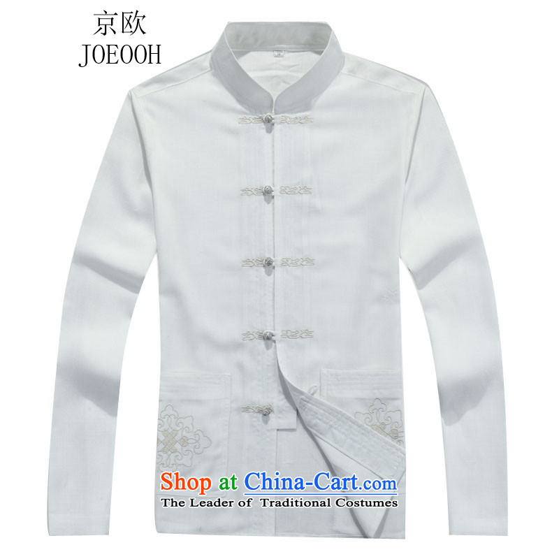 Beijing OSCE Tang Dynasty Package long-sleeved Han-men in both the father white T-shirt with older?L