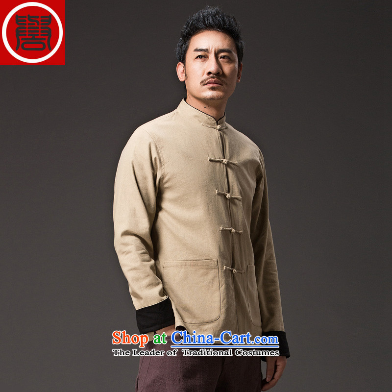 Renowned China wind retro men Tang Dynasty Chinese men and Han-Sau San disk l detained Chinese tunic duplex wear clothing yellow?L