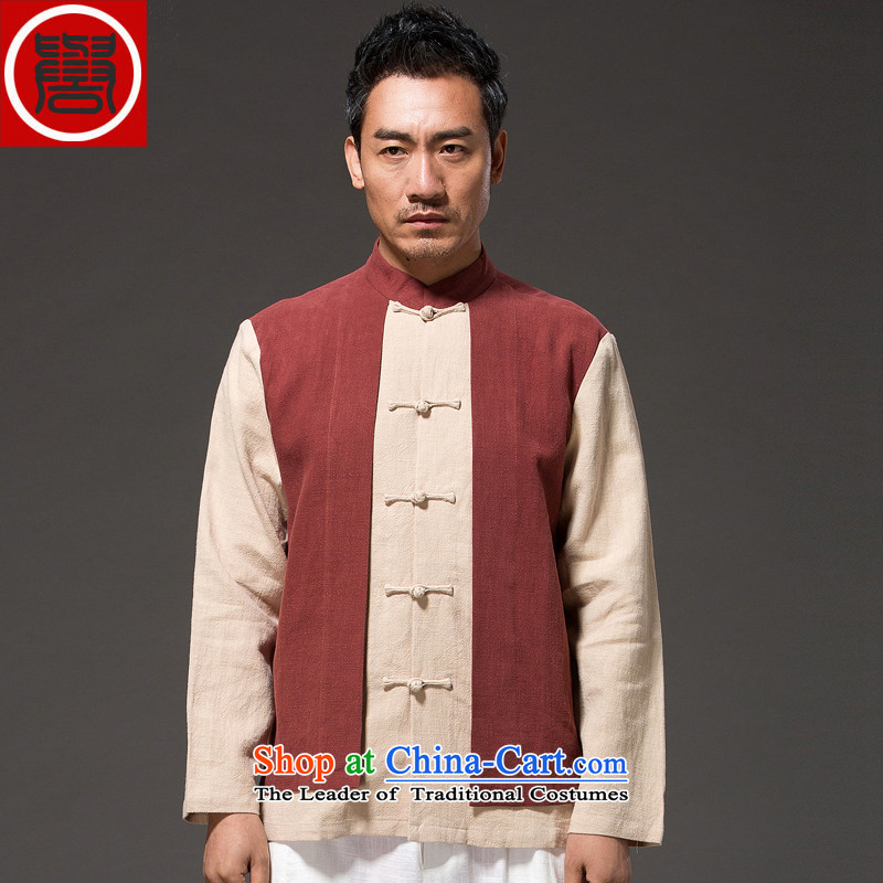 Renowned Chinese Wind leave two men loading TANG Sau San Han-men long-sleeved shirt with flax spell color autumn tray clip mock red聽XXL