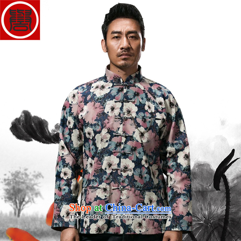 Renowned China wind stamp Tang dynasty male Sau San disk l Chinese improved during the spring and autumn cowboy detained printing color燲XXL Jacket