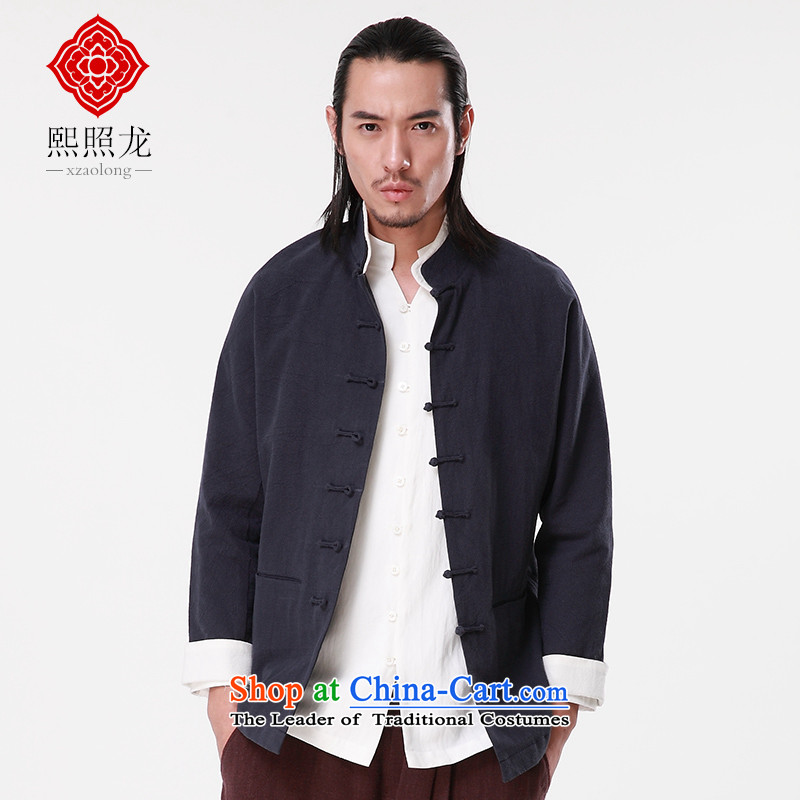 Hee-Snapshot Dragon 2015 autumn and winter new cotton linen men Tang long-sleeved jacket double layer disc buckle for Chinese lining clothes blue?S
