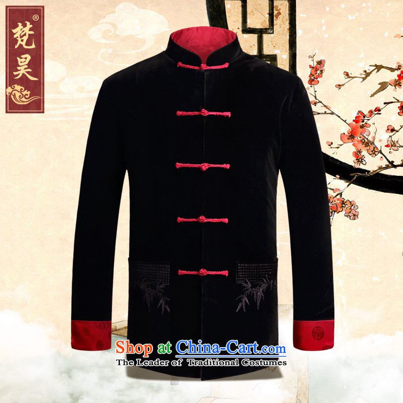 Van Gogh's new gold velour Tang dynasty male jacket double-sided wear long-sleeved jacket Chinese disc for autumn and winter by withholding their father's birthday dress red?3XL replacing