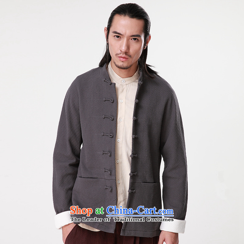 Hee-Snapshot Lung Men Tang jackets of autumn and winter coats of leisure and new disk detained jacquard cotton linen coat Han-gray聽M