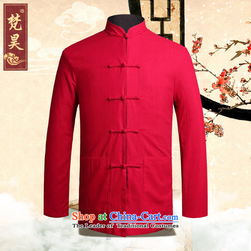 Van Gogh's autumn and winter new cotton linen Tang dynasty male two-sided wear a mock-neck jacket Chinese Disc detained old folk weave in Tang Dynasty long-sleeved black and red double-sided?XL older