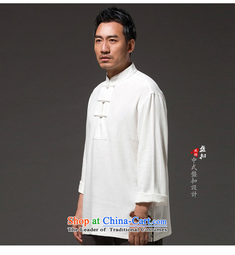 Renowned China wind men long-sleeved T-shirt linen solid color autumn cotton linen clothes men's shirts, Tang dynasty white聽L picture, prices, brand platters! The elections are supplied in the national character of distribution, so action, buy now enjoy more preferential! As soon as possible.
