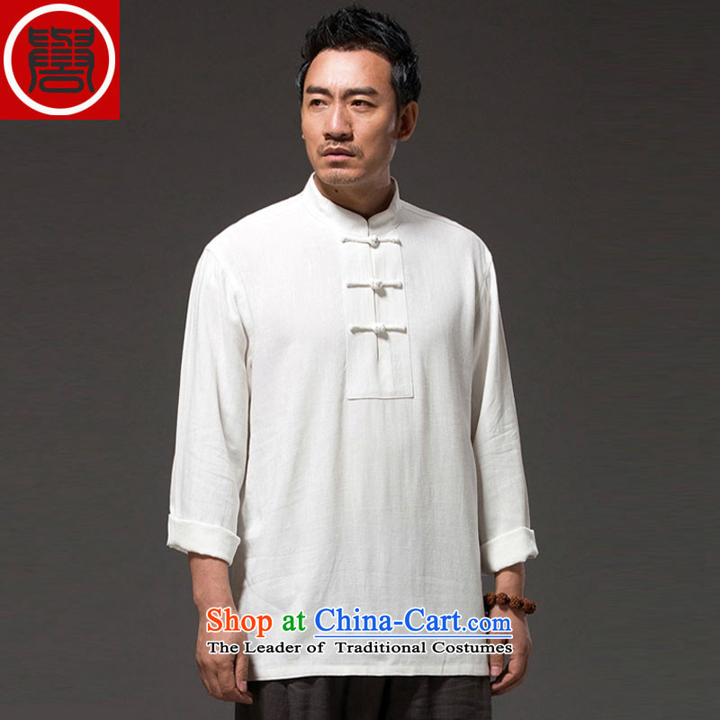 Renowned China wind men long-sleeved T-shirt linen solid color autumn cotton linen clothes men's shirts, Tang dynasty white?L
