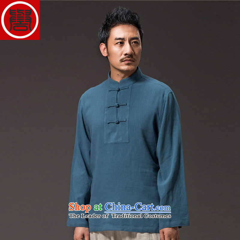 Renowned China wind men long-sleeved T-shirt linen solid color autumn cotton linen men's shirts, Tang dynasty white T-shirt聽, L, renowned (CHIYU) , , , shopping on the Internet