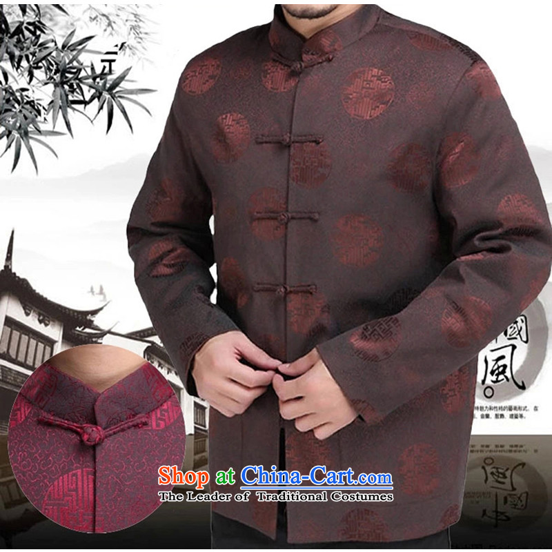 The Rafael Hui Kai 2015 autumn and winter new Tang dynasty male in his father's elderly men Tang Dynasty Chinese Dress 13,171 long-sleeved sweater brown 180/ winter folder cotton