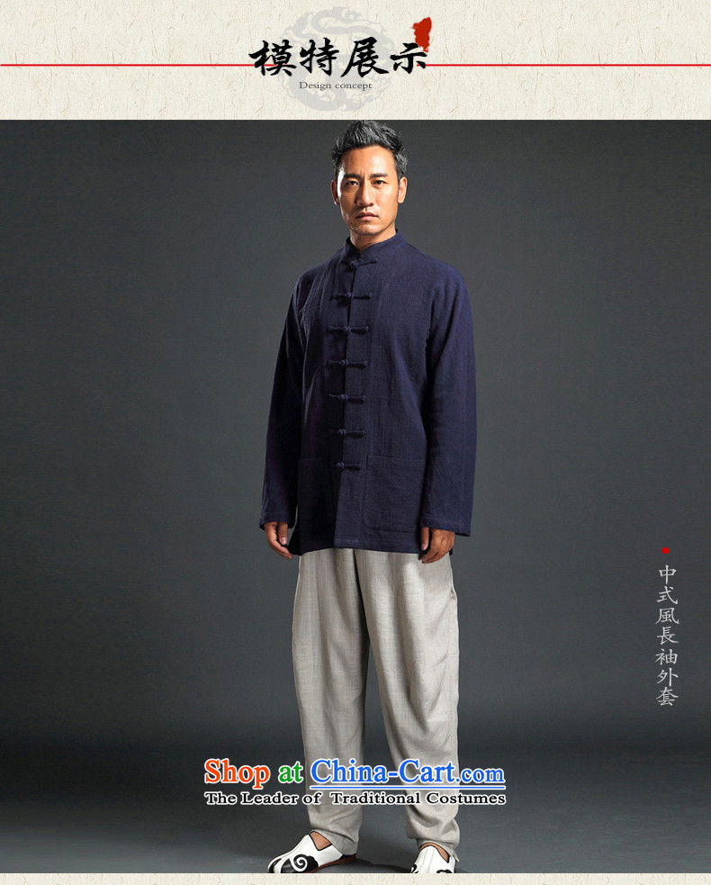 Renowned Tang dynasty autumn long-sleeved men detained Chinese tunic Han-rom China wind linen men casual relaxd cotton linen shirts and dark blue XXXL picture, prices, brand platters! The elections are supplied in the national character of distribution, so action, buy now enjoy more preferential! As soon as possible.